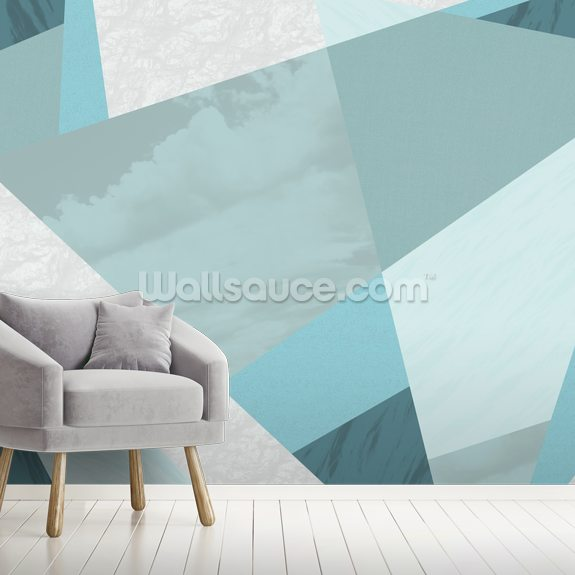 Aqua Blue wall mural room setting