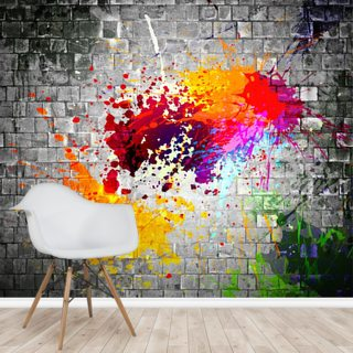 Ink splatter on stone wall
