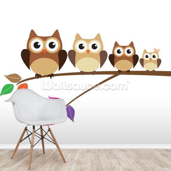 Owl Family Wallpaper Mural Wallsauce Au