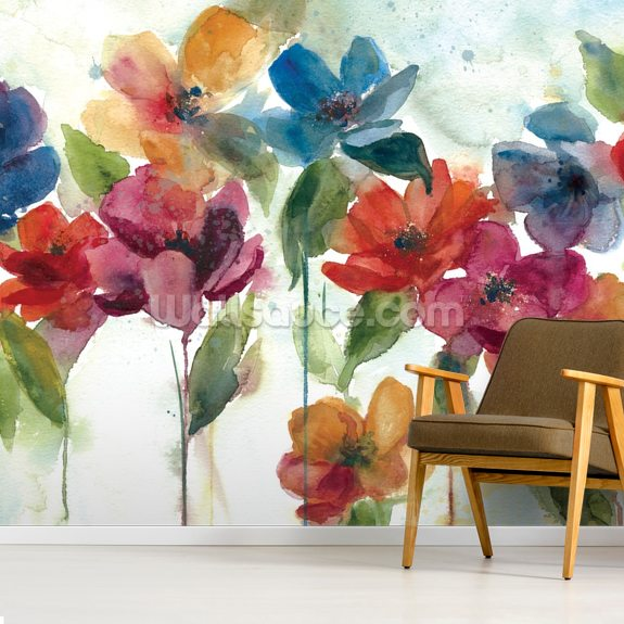Flower Dance mural wallpaper room setting
