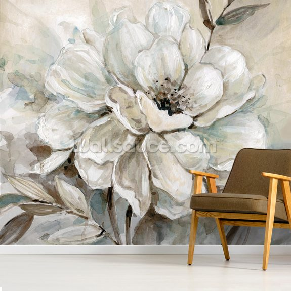 Neutral Bloom wall mural room setting