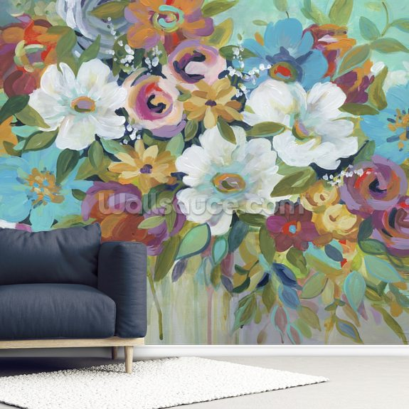Confetti Bouquet wallpaper mural room setting