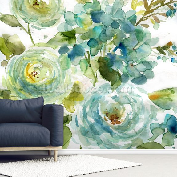 Cool Watercolor Floral mural wallpaper room setting