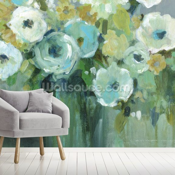 Fresh Cut Emeralds wallpaper mural room setting