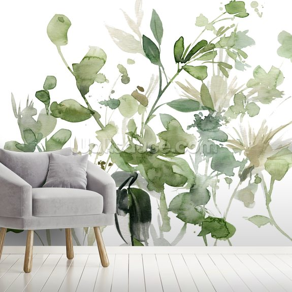 Garden Sage mural wallpaper room setting