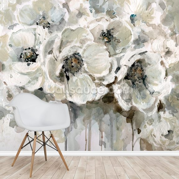 Neutral Bouquet wallpaper mural room setting