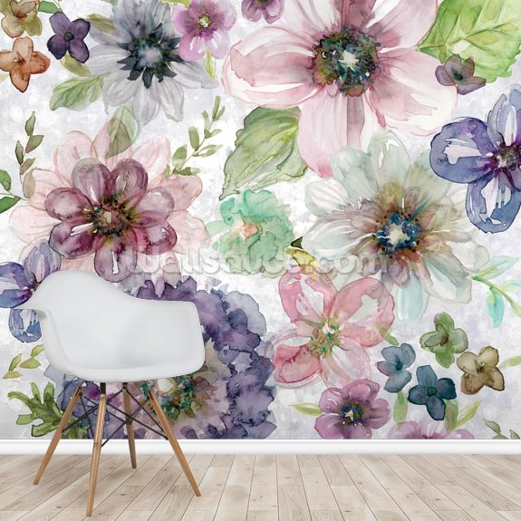 Plum Garden Square mural wallpaper room setting