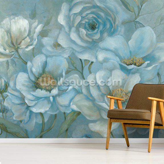 Twilight Blooms wallpaper mural room setting
