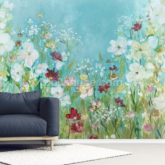 Wildflowers and Lace mural wallpaper room setting