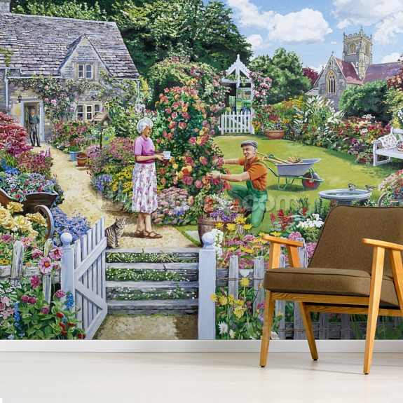 Tending a Cottage Garden wallpaper mural room setting