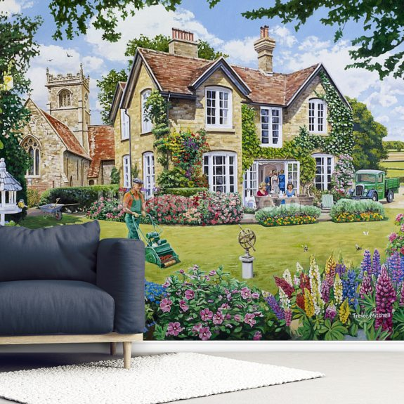 The Vicarage wall mural room setting