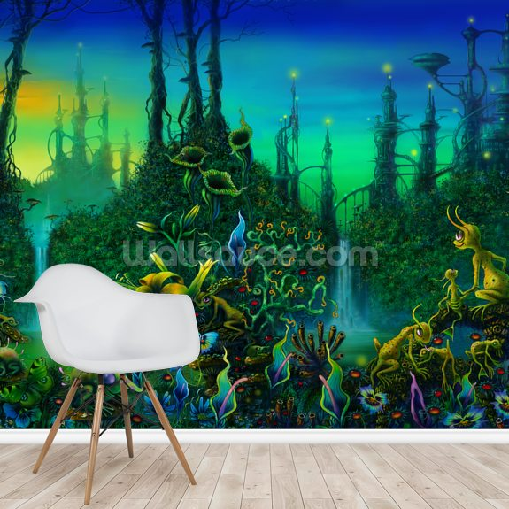 Alien Jungle wall mural room setting