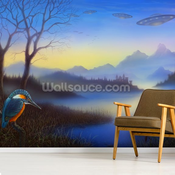 Kingfisher Lake mural wallpaper room setting