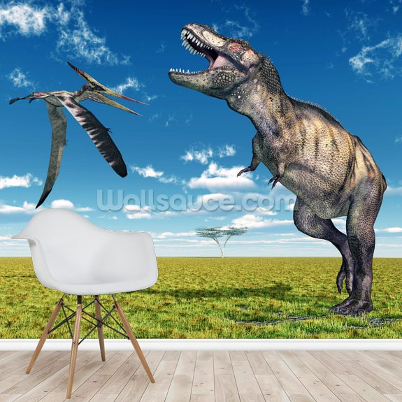 T-Rex and Pteranodon Battle wallpaper mural room setting