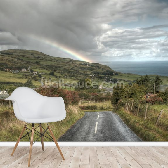 Coastal Causeway Rainbow, Northern Ireland mural wallpaper room setting