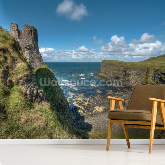 dunluce castle, northern ireland wallsauce usdunluce castle, northern ireland mural wallpaper room setting