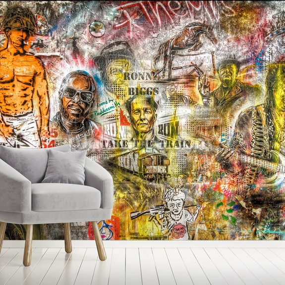 Graffiti Montage mural wallpaper room setting