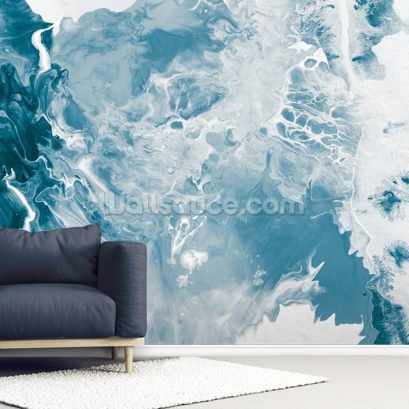 Blues wall mural room setting