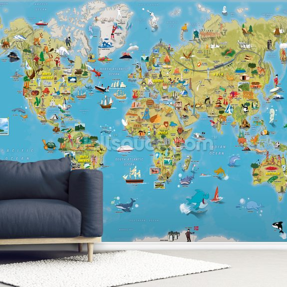 Cartoon World Map with Animals wallpaper mural room setting