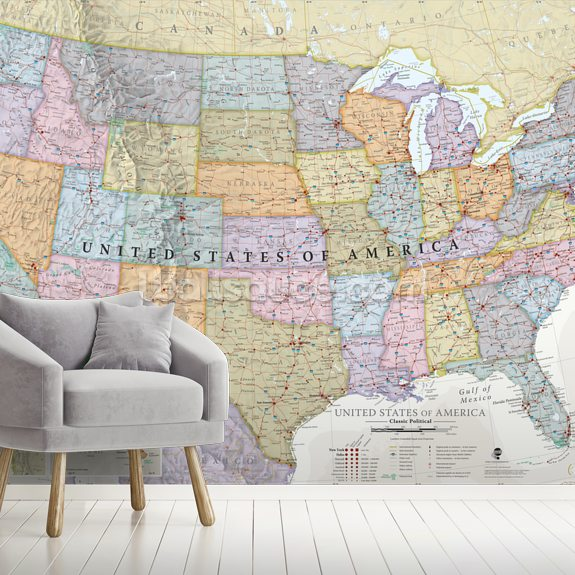 USA Political Map Classic Colours mural wallpaper room setting