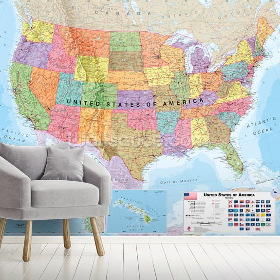 USA Political Map wallpaper mural room setting