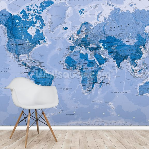 World Map Blue mural wallpaper room setting