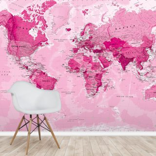 World Map Pink