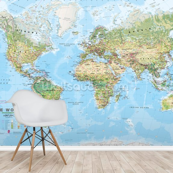 World Environmental Map wallpaper mural room setting