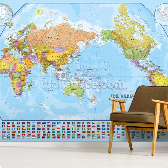 World Map and Flags mural wallpaper room setting