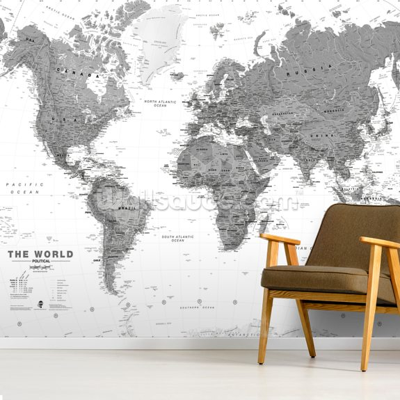 World Map Monochrome wall mural room setting