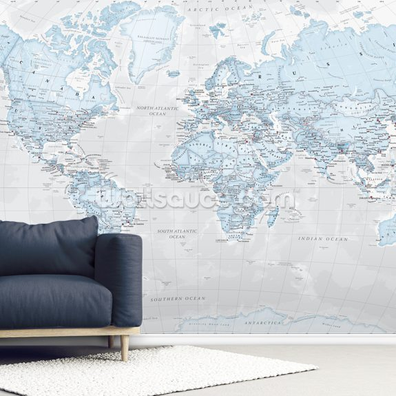 World Political Aqua wallpaper mural room setting