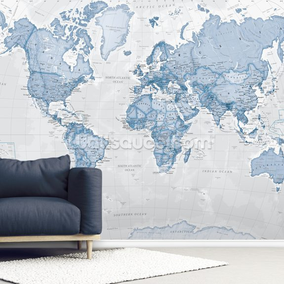 World Political Blue mural wallpaper room setting