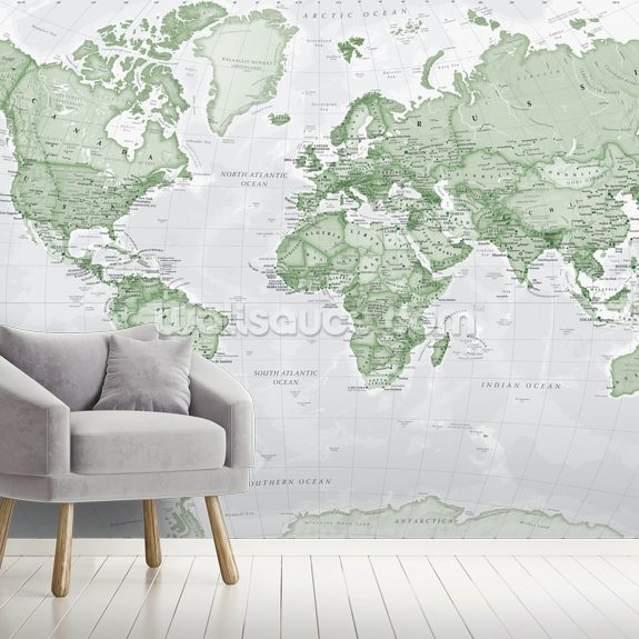 World Political Green wall mural room setting