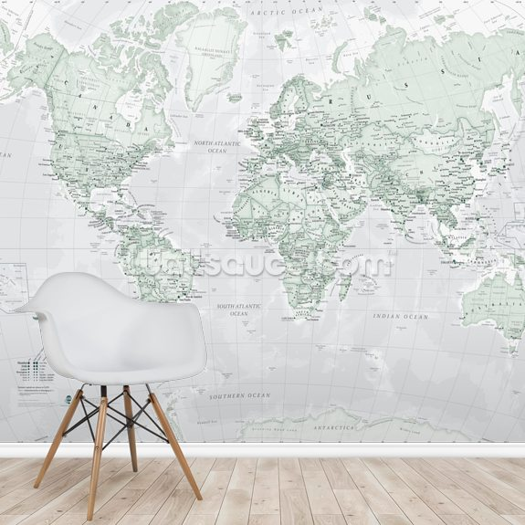 World Political Rustic wall mural room setting