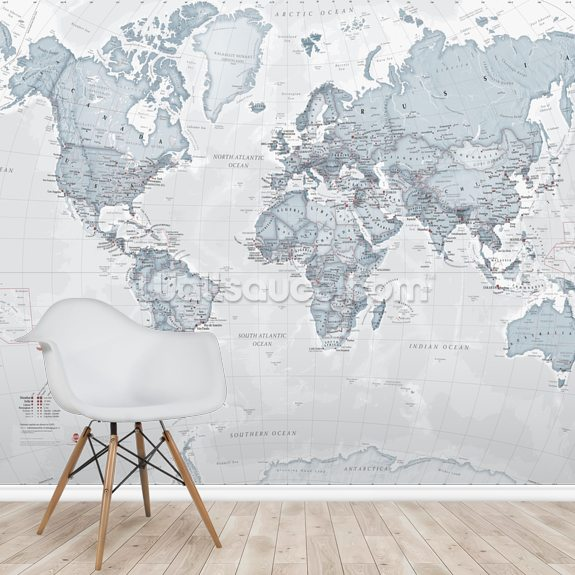 World Political Teal wallpaper mural room setting