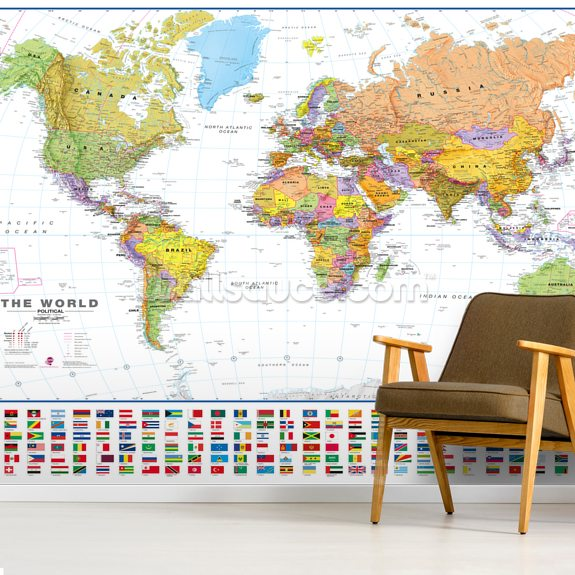 World White Flags wall mural room setting