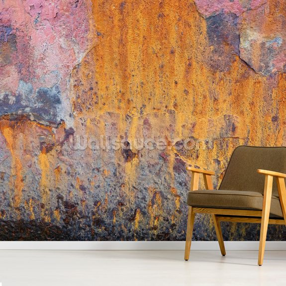 Coloured Rust wall mural room setting