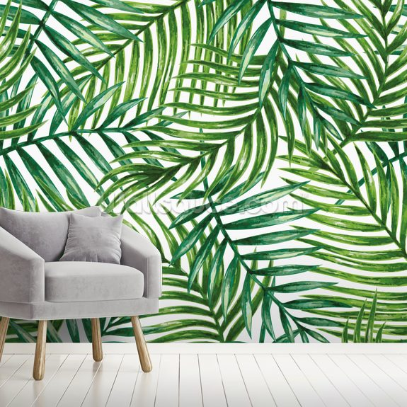 Watercolor Tropical Palm Leaves Wallpaper Mural Wallsauce Us The best selection of royalty free tropical leaves vector art, graphics and stock illustrations. watercolor tropical palm leaves