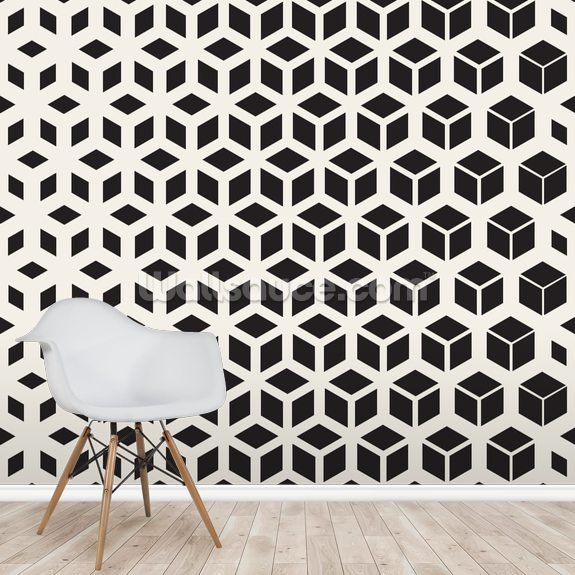 Black and White Cubic wall mural room setting
