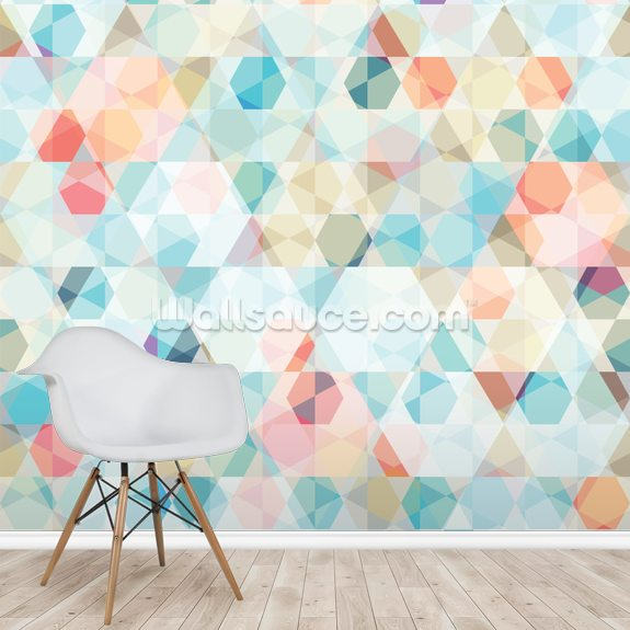 Kaleidoscope Geometric wallpaper mural room setting