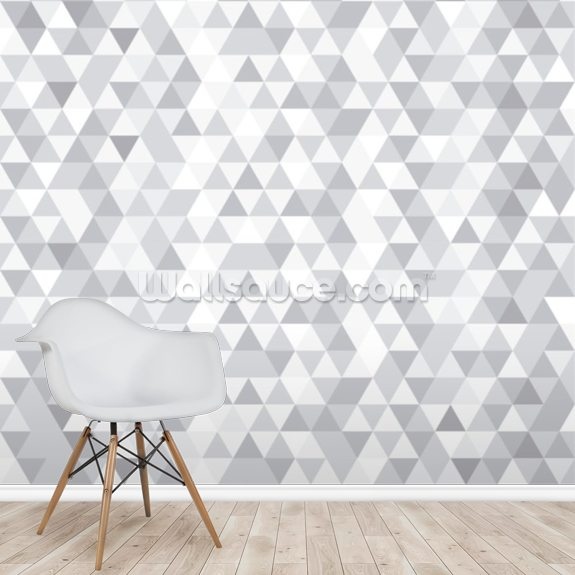Grey and White Triangles mural wallpaper room setting