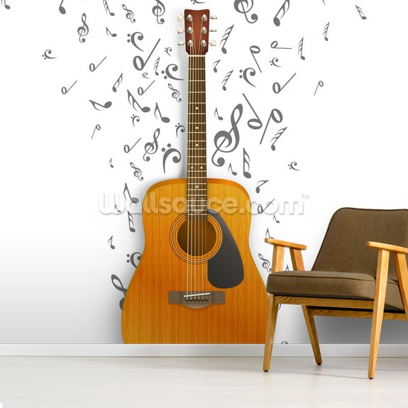 Notes off the Guitar mural wallpaper room setting