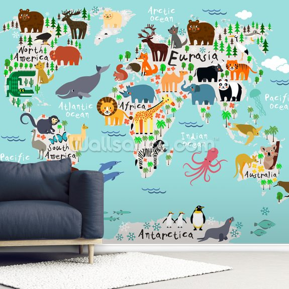 Kids World Map Wallpaper Mural | Wallsauce AU
