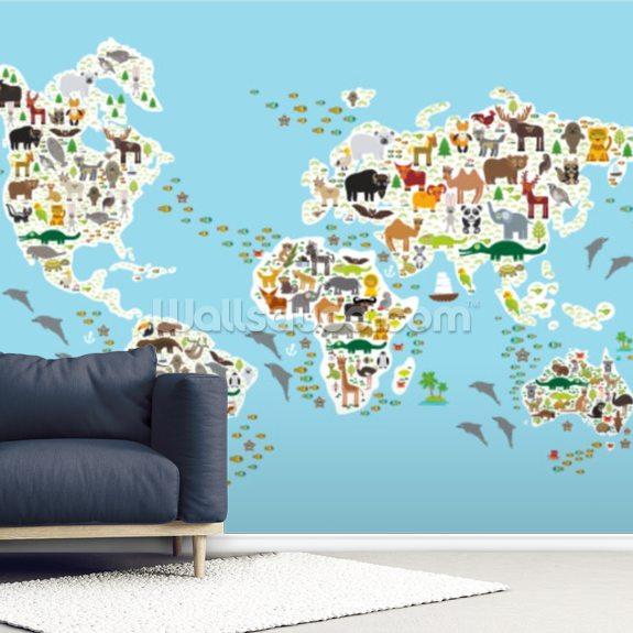 Cartoon Animal World Map Mural Wallpaper Room Setting