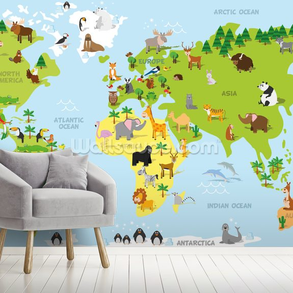 Childrens World Map with Animals Wallpaper | Wallsauce CA on