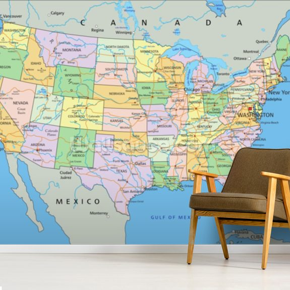Us Political Map Wallpaper Mural Wallsauce Us - Map-of-us-political