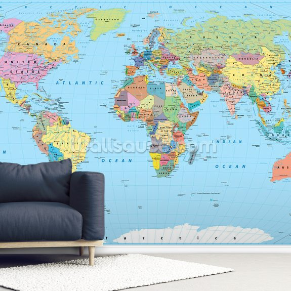 Coloured Map of the World wallpaper mural room setting