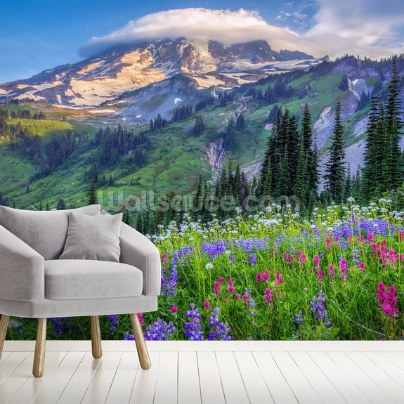 Mt Rainier Wildflowers mural wallpaper room setting