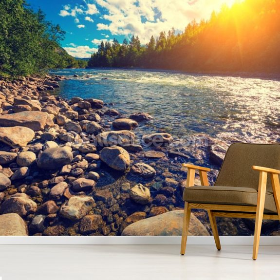 Mountain Valley Norway wallpaper mural room setting