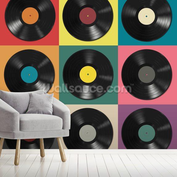 colourful vinyl records wallpaper   wallsauce uk